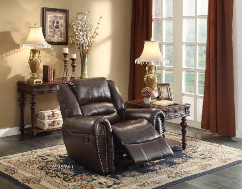 Homelegance 9668BRW-3 Double Reclining Sofa Bonded Leather, Brown