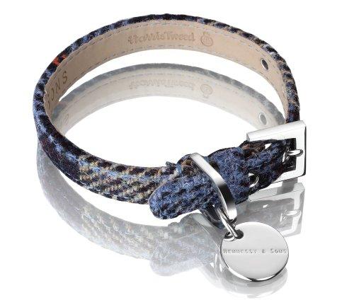 Hennessy Harris Tweed and Medium Leather Dog Collar, Mackenzie Blue