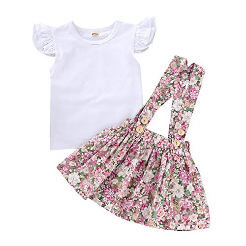MAMOWEAR Kids Baby Girl Ruffle Sleeveless T-Shirt Tops + Floral Suspender Skirt 2PCS Overalls Clothes Set (Multicolor, 100/2-3 ()