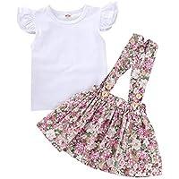 MAMOWEAR Kids Baby Girl Ruffle Sleeveless T-Shirt Tops + Floral Suspender Skirt 2PCS Overalls Clothes Set