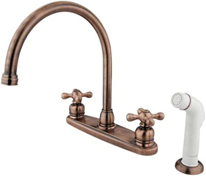 Elements Of Design Eb726ax Vintage Two Handle Goose Neck Kitchen Faucet With White Sprayer Antique Copper Touch On Kitchen Sink Faucets Amazon Com