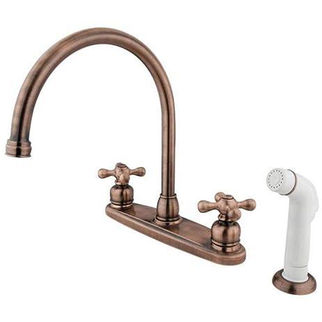Kingston Brass KB726AX Vintage Gooseneck Kitchen Faucet With Cross Handle U0026  Sprayer, Antique Copper