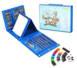 THESIMPLE - 176 Pieces Easel Supplies for Kids Art Supplies Set Deluxe Art Set Drawing And painting Double Sided Trifold Easel Art Set-Best Gift For Kids (Blue Case)