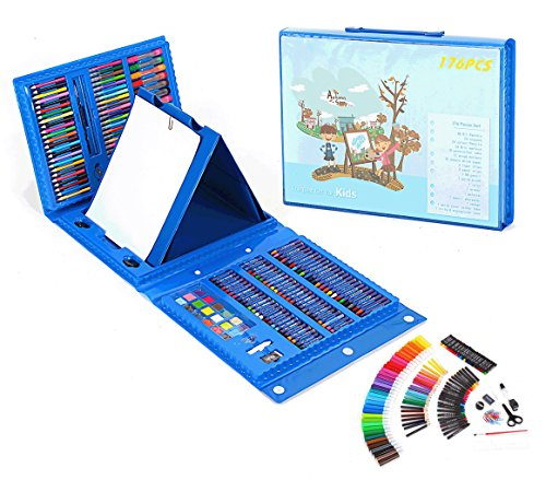 THESIMPLE - 176 Pieces Easel Supplies for Kids Art Supplies Set Deluxe Art Set Drawing And painting Double Sided Trifold Easel Art Set-Best Gift For Kids (Blue Case) (Buy Hours Store Toronto Best)