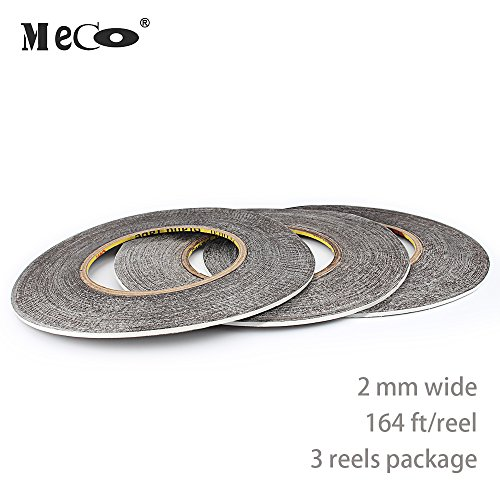Mounting Tape, MECO Double Sided Adhesive Tape Sticker Glue Tape for Repair Touch Screen, LED Strips, 2mm width 164ft (54yard) /Reel, 3 Reels in Package