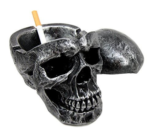 Ebros Death Curse Gothic Metallica Human Skull Ashtray Resin Figurine Day Of The Dead Halloween Spooky Decor Cigarette Ashtray With Lid]()