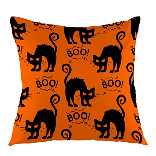 oFloral Halloween Pillowcase Cat Cloud Boo Throw Pillow Cover Square Cushion Case for Boy Girl Woman Sofa Couch Bedroom Living Room Home Festival Decorative 18
