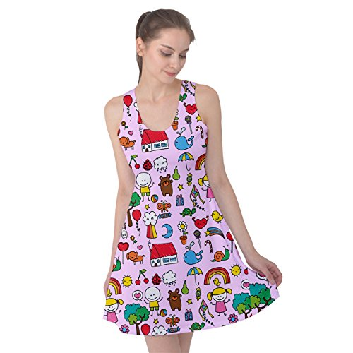 PattyPattern Womens Baby Hand Drawing Doodles Kids Reversible Sleeveless Dress
