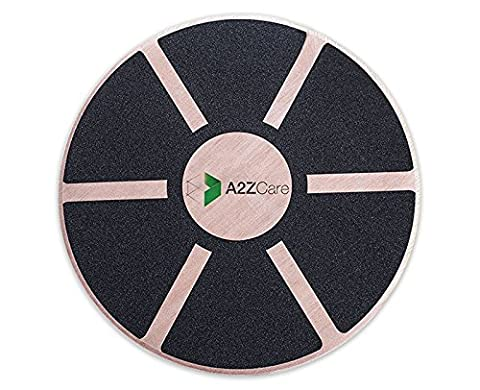 A2ZCare Wooden Wobble Balance Board - Exercise, Surf Training, Fitness, Physical Therapy And Rehab - Anti Slip Safety Top - 15.75 Inch Diameter And 0.7 Inch Thick - - Wooden Balance Board