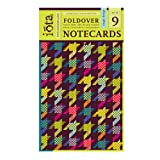 Iota Set of Nine Fold over Note cards with Envelopes - Houndstooth Design,   (Pack of 2)