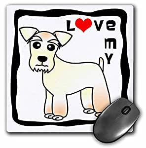 3dRose LLC 8 x 8 x 0.25 Inches Mouse Pad, I Love My Miniature Schnauzer Dog Wheaten Red Heart (mp_40898_1)