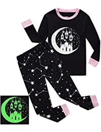 Girls Pajamas Castle Glow-in-The-Dark Kids Pjs 100% Cotton Toddler Sleepwear
