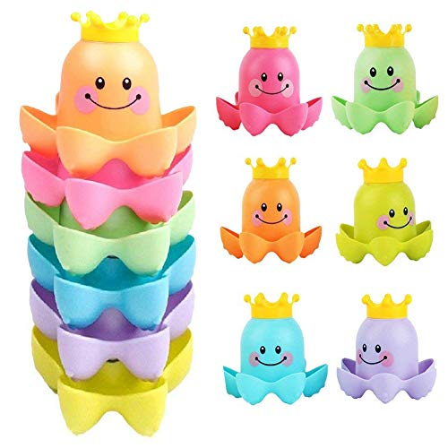 RUILAI Water Bath Toys Toddlers Baby Kids, - Floating Octopus Stacking Cups - Bubble Bath Tub Fun Swimming Pool Beach Bathing Time BPA-Free Boys Girls - 6 Pieces