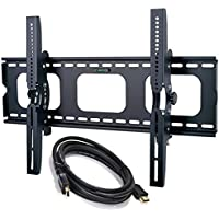 2xhome - NEW TV Wall Mount Bracket w/FREE HDMI cable – Secure LED LCD Plasma Smart 3D WiFi Flat Panel Screen Monitor Monitor Display Large Displays - Flat Thin Ultra Slim