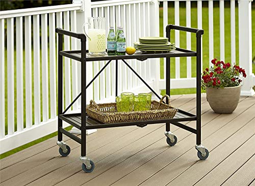 Outdoor Serving Cart with Wheels,Outside Buffet Table with Storage,Foldable Serving Cart with 4 Casters,Brown Color, Durable and Highly Resistant, Multi-Purpose,for Indoors, Outdoor Parties, Gatherin from Home Island