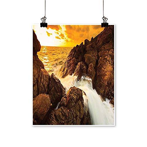 (Art-Canvas Prints Sunset and Waves Over Tropical Wild Rocks on The Beach Heaven Nature Summer Wall Art for Living Room Decoration,12