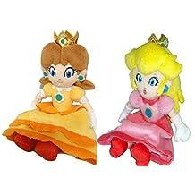 AutoKing® Super Mario Princess Set of 2 Peach & Daisy Soft Stuffed Doll Plush Toy 8 & 8.5 by Autoking