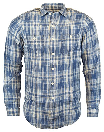 Polo Ralph Lauren Standard Fit Plaid Linen Long-Sleeve Woven Shirt - Blue/White - XL (Plaid Linen Shirt)