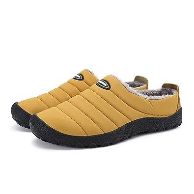 4206122d9 Leaproo Men&Women Winter Warm Slippers Fur Lined Waterproof Anti-Slip Snow  Shoes Low-Top