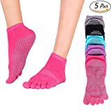 Wsky Yoga Socks - Full Toe, Non Slip, Pilates Best Socks with Grip for Women, 5 Pairs