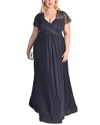 Damen V-Ausschnitt Spitze Große Größen Kleid Lang Abendkleid ...