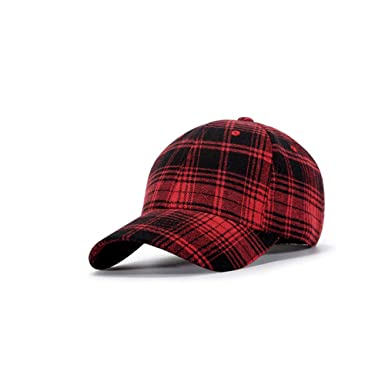 9241217e55d CRN Unisex Casual Plaid Curved Cap Baseball Cap Dad Cap Adjustable Sports  Outdoor Hat Red