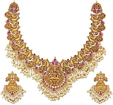 Tarinika Cira Antique Gold-Plated Indian Jewelry SetNecklace and Earrings - Red Green