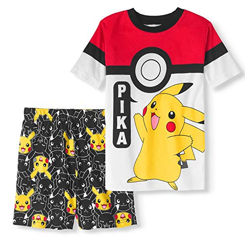 AME Pikachu Pajama Sleep Wear Set for Boys Or Girls - Short Sleeve and Shorts, Red White Black, Large (10) ()