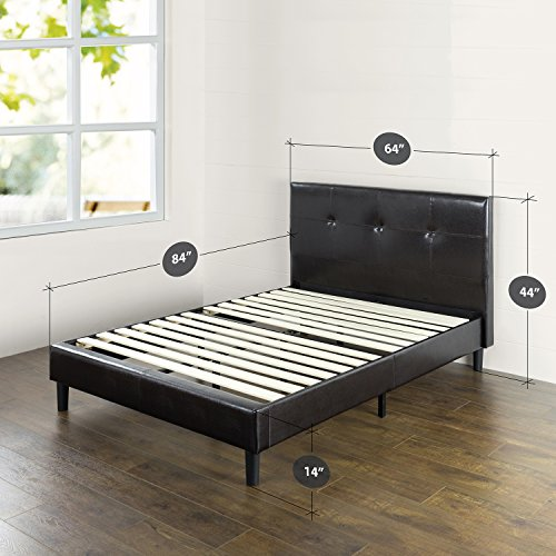 Zinus Kitch Faux Leather Detail-Stitched Platform Bed with Wooden Slat Support, Queen