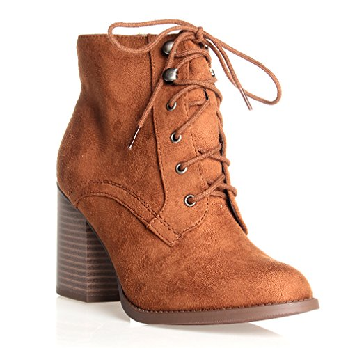 Zipper Leatherette (SODA Women Lurk Cute Chunky Lace Up Leatherette Zipper Ankle Bootie Cognac Pu 8)