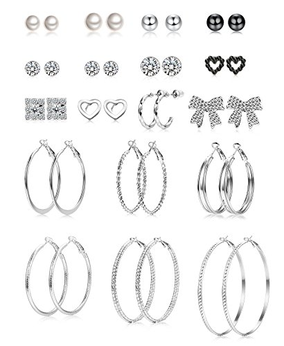 ORAZIO 18 Pairs Assorted Multiple Stud Earrings for Women Big Hoop Earrings for Girls Silver Tone