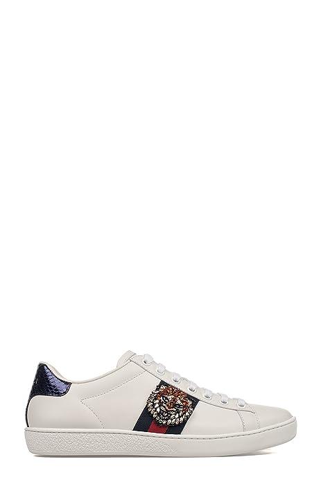 Gucci Mujer 460201A38G09161 Blanco Cuero Zapatillas: Amazon.es: Zapatos y complementos