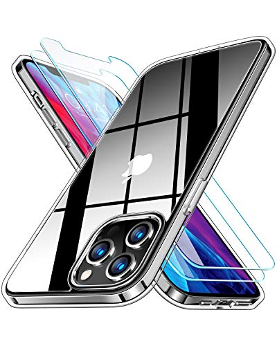 RANVOO Clear Case Designed for iPhone 12 Pro Max [with 2 x Screen Protectors], Full Body Coverage Protective Shockproof [Never Yellowing] Slim Cover with Soft TPU Bumper and Transparent Hard PC Back (6.7 inch)