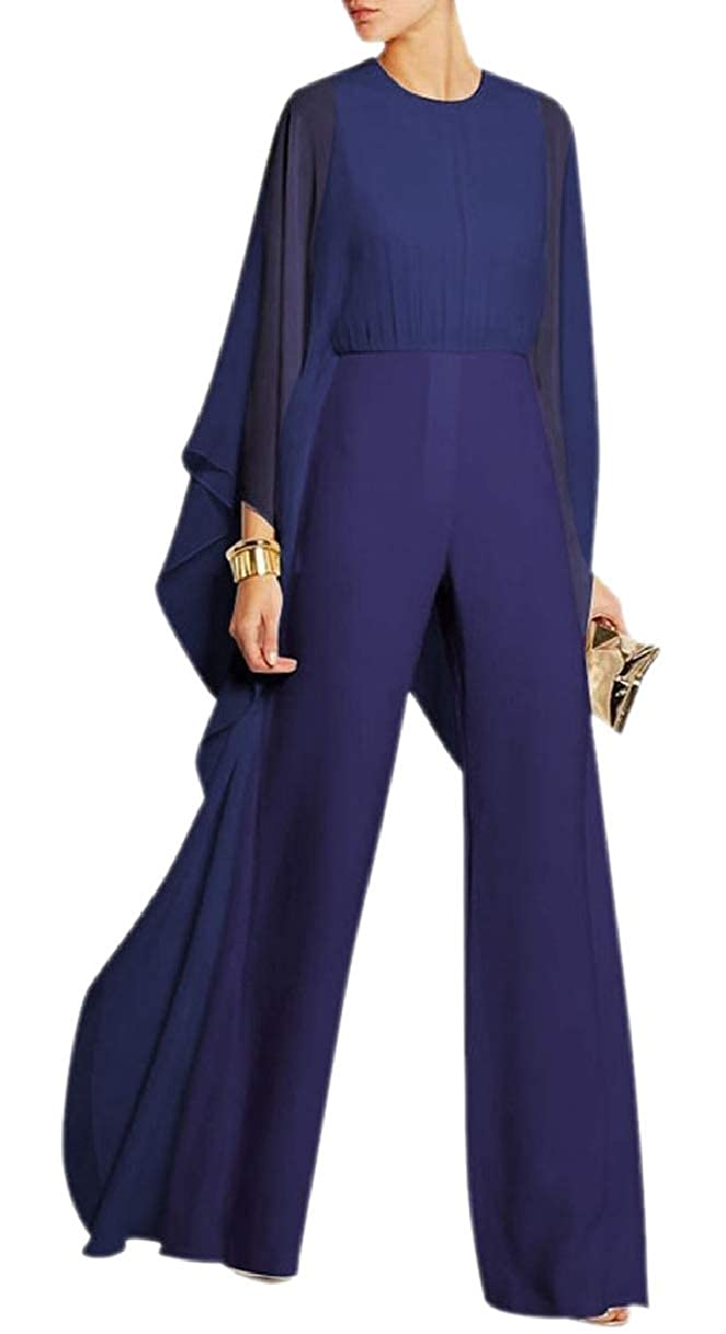 YIhujiuben Women O-Neck Fashion Long Sleeve Chiffon Wide-Leg Jumpsuits Rompers