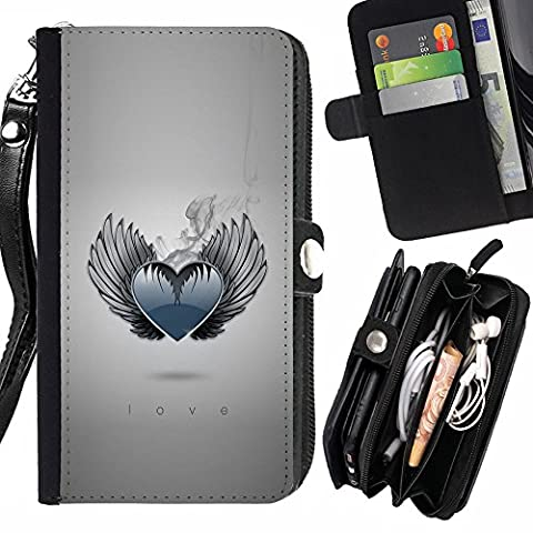 SHIMIN FOR SAMSUNG GALAXY S7 EDGE cool heart love wings angel smoke monochrome Zipper Wallet With Strap Card Holder Case (Wing Phone Covers)