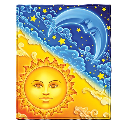 Dawhud Direct Sun and Moon Fleece Throw Blanket (Celestial Throw Blanket)