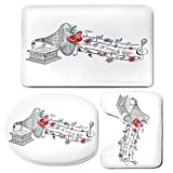 3 Piece Bath Mat Rug Set,Music-Decor,Bathroom Non-Slip Floor Mat,Vintage-Gramophone-Record-Player-with-Floral-Ornament-Blossom-Antique,Pedestal Rug + Lid Toilet Cover + Bath Mat,Grey-Pink