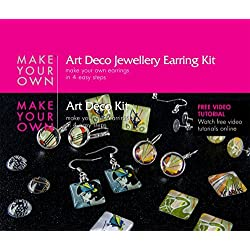 Earring Jewelry Making Craft Kit (Art Deco) Make Your Own Costume Jewelry Earrings. Best Craft Kit for Girls, Beginners, Teens and Adults. Girls Jewelry Birthday Gift. Make 6 Pairs of Earrings, Stud Earrings, Hook Earrings and Cabochon Earring Sets Includes All the Jewelry Supplies and Jewelry Findings, Craft Supplies Needed to Get Started. Instructions and Video Tutorials