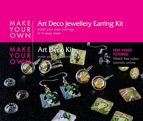 [Earring Jewelry Making Craft Kit (Art Deco) Make Your Own Costume Jewelry Earrings. Best Craft Kit for Girls, Beginners, Teens and Adults. Girls Jewelry Birthday Gift. Make 6 Pairs of Earrings, Stud Earrings, Hook Earrings and Cabochon Earring Sets Includes All the Jewelry Supplies and Jewelry Findings, Craft Supplies Needed to Get Started. Instructions and Video] (Vintage Costume Jewelry Images)