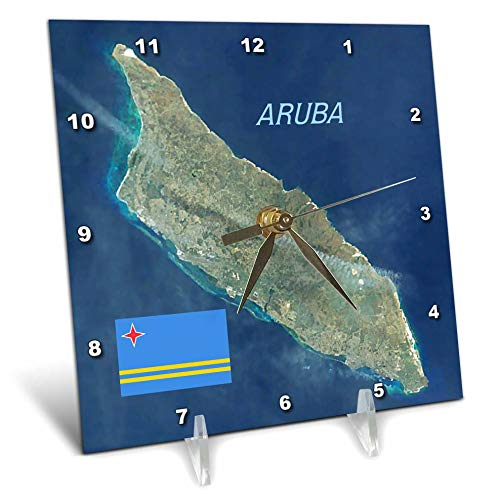 3dRose Lens Art by Florene - Topo Maps and Flags - Image of Aerial Topo View with Flag of Aruba - 6x6 Desk Clock (dc_306862_1)