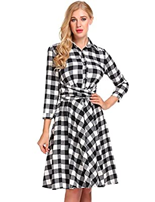 Bifast Women 3/4 Sleeve Turn Down Button Down Plaid Midi Swing Party Dress With Belt