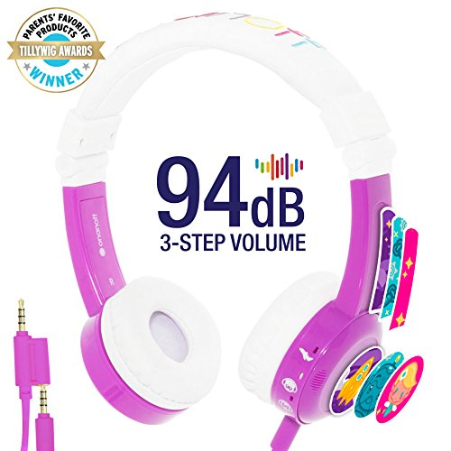 InFlight 3-Step Volume Limiting Kids Headphones - Durable, Comfortable & Customizable - Built in Headphone Splitter and In Line Mic - Perfect for Airplane Use - Purple