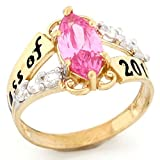 14k Gold Simulated October Birthstone 2018 Class Graduation Ring