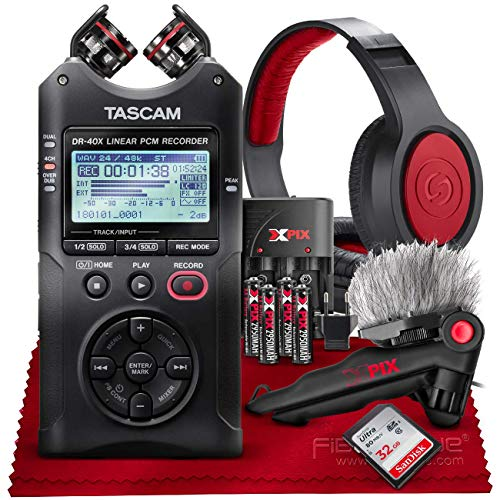 (Tascam DR-40X Four-Track Digital Audio Recorder and USB Audio Interface + 32GB + Samson Headphones + Table Tripod + Accessory Bundle)