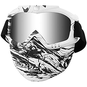 ed4d28723c Motorcycle Helmet Riding Goggles with Removable Face Mask Vintage (Black  white Camo)