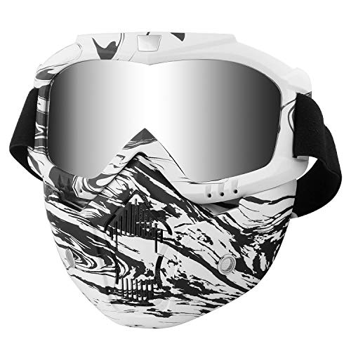 Motorcycle Helmet Riding Goggles with Removable Face Mask Vintage (Black white Camo)