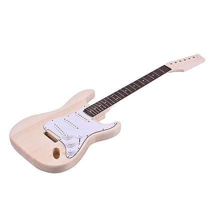 Youtaimei Producto satisfactorio Kit de Guitarra eléctrica de Bricolaje sin terminar Cuerpo de Caoba Cuerpo de