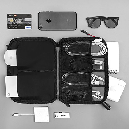 Tomtoc Electronics Accessories Pouch Bag Case Organizer Cable Management, Travel Gadget Carry Bag for Cables, Power Bank, Hard Drive, Charger, USB Hub, Phone, New Arrival, Black