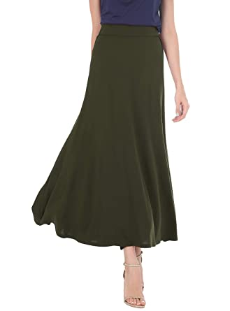 24e376d27a Womens Maxi Skirts Classic Lightweight Elastic Waist Flared Draped A-Line  Long Skirts (Army