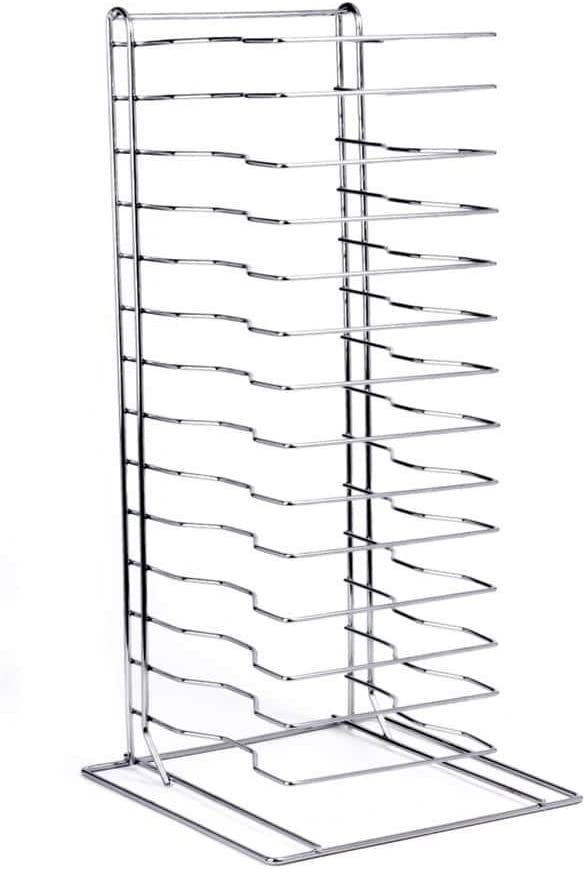 pizza pan rack 15 slot shelf stack for stacking thin pans trays separator screen